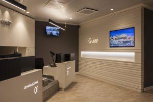 L'area check-in e accoglienza della nuova Genova Lounge, inaugurata a settembre 2017