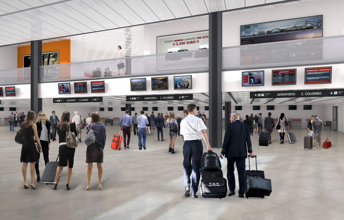 Render atrio partenze banchi check-in