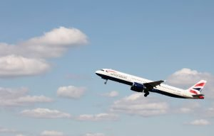 British Airways Airbus A321 taking off, Heathrow, UK, 08 April 2010 (Picture by Nick Morrish/British Airways)